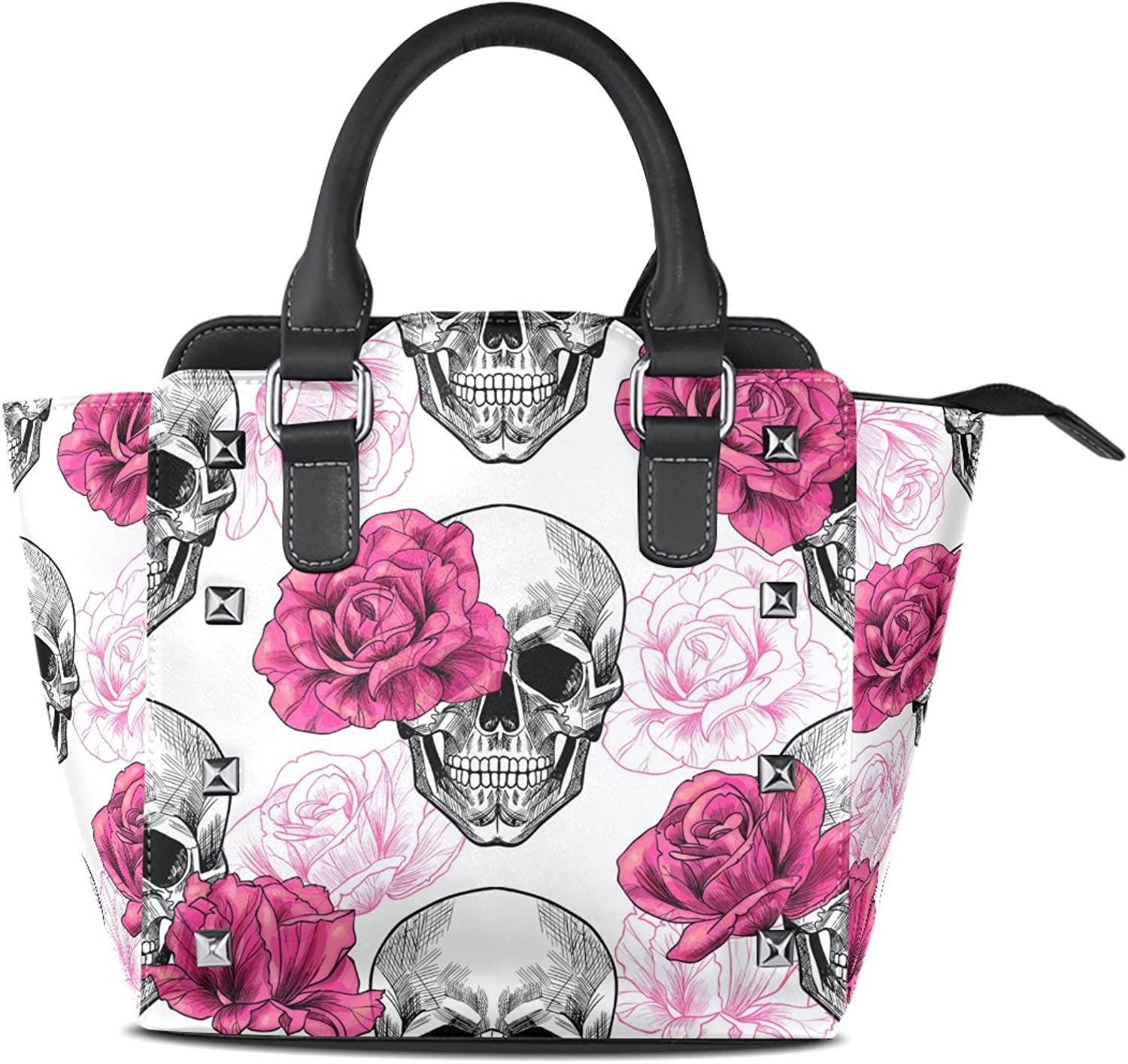 My Little Nest Women's Top Handle Satchel Handbag Skull and pinks Ladies PU Leather Shoulder Bag Crossbody Bag