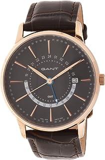 ساعة من غانت شيستر للرجال بمينا رمادي وسوار من الجلد وشاشة انالوج، طراز G Gww026004