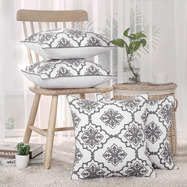 Deconovo Cotton Throw Pillow Cases Decorative Flower Pattern Cushion Covers For Living Room Grey And White 18x18 Inch Set Of 4 No Pillow Insert