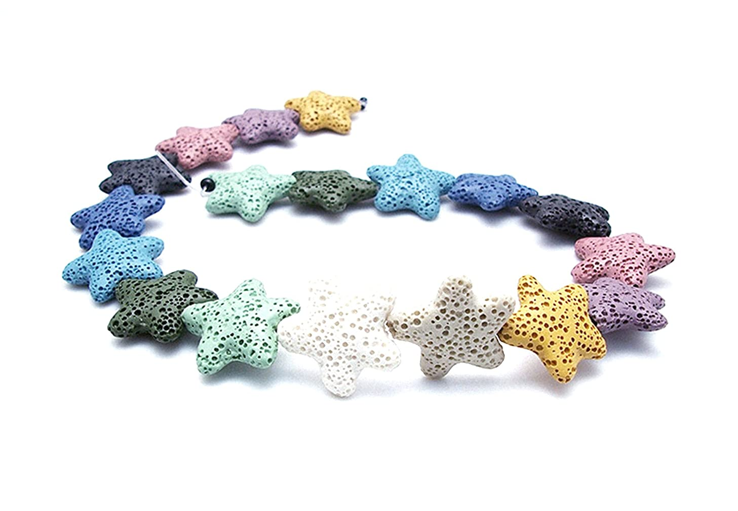 Star Shape Smooth Coloured Lava Stone Loose Beads - Lava Rock Beads Volcanic Gemstone for Beaded Necklace Bracelet DIY Handmade Jewelry Making (23 x 23 x 6mm)