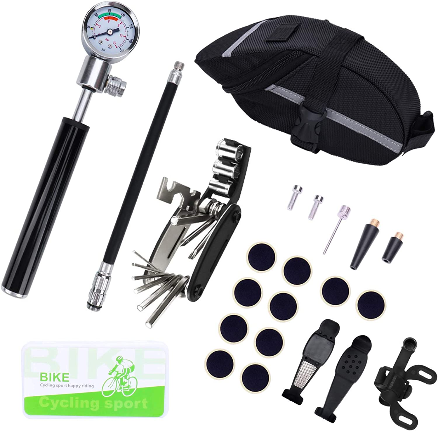 Bike Repair Tool Kit, Mini Bicycle Pump with Pressure Gauge[210 PSI] + 16in1 Screwdriver + Waterproof Seat Bag + Glueless Patches etc. for Presta Schrader