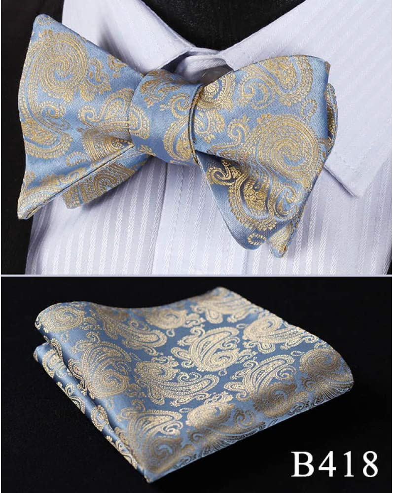 ZXCVBN Floral Silk Jacquard Woven Men Butterfly Self Pocket Square Suit Set