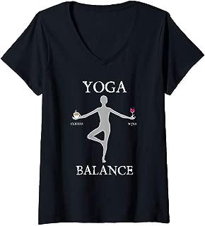 Womens Funny Yoga workout gift Yoga coffee wine balance V-Neck T-Shirt