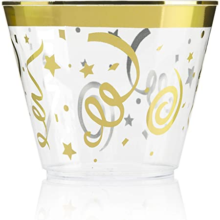 """100 """"CELEBRATION"""" Gold Rimmed Plastic Cups ~ 9 Oz Cup Tumblers ~ Elegant Festive Party Cups ~ Fancy Disposable Wedding Cups by F-32 Signature Collection"""