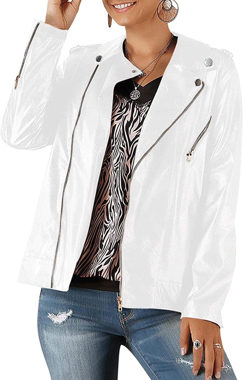 Women's Faux Leather Zipper Jacket Slim Fit Moto Biker Coat