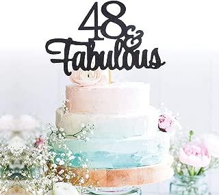 GrantParty Glitter Black 48&Fabulous Anniversary Cake Topper We Still Do 48th Vow Renewal Wedding Anniversary Cake Topper(48 Black)