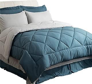 Bedsure Queen Size Bed in A Bag, Blue/Light Grey - Soft Microfiber, Reversible Bed Comforter Set 8 Pieces (1 Comforter, 2 Pillow Shams, 1 Flat Sheet, 1 Fitted Sheet, 1 Bed Skirt, 2 Pillowcases)