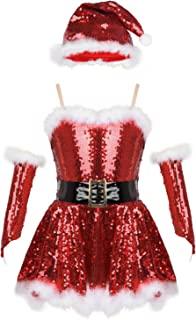 Girls' Mrs Claus Costume Sparkle Sequins Christmas Santa Tutu Princess Party Dresses with Hat&Sleeves