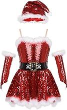 TiaoBug Girls Christmas Santa Claus Costume Figure Ice Skating Princess Ballet Leotard Dance Dress Xmas Cosplay Party Outfits