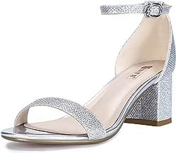 Best low block heel sandals silver Reviews