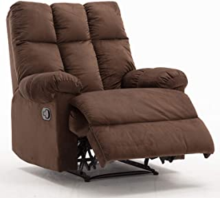 Bonzy Home Overstuffed Fabric Recliner Chair - Heavy Duty Manual Recliner - Home Theater Seating - Bedroom & Living Room Chair Recliner Sofa (Brown)