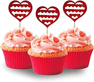Red Heart Valentines Day cupcake topper 12pc per Pack Cupcake Glitter Foamy Wedding,Weddings, Bridal or Baby Shower.