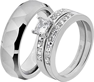 His & Hers Wedding Ring Sets Stainless Steel Princess CZ Triangle Faceted Tungsten Men GG