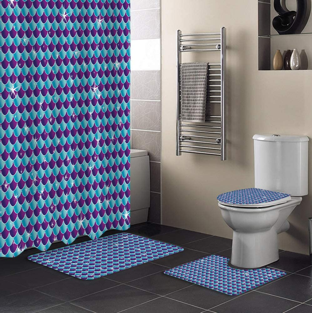 MUSEDAY New Shipping Free Shipping 4 Piece Shower Curtain Set Lid Lowest price challenge with Non-Slip Rug Toilet