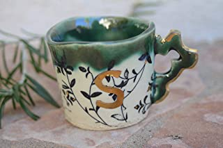 Letter S Initial Espresso Cup, handmade pottery small coffee mug with monogram