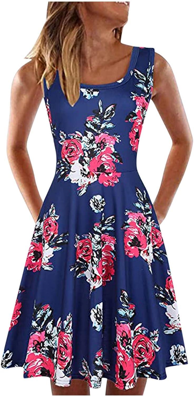 Women Summer Beach Dress Ladies Summer Sleeveless U-Neck A-Line Short Casual Printed Loose Dress