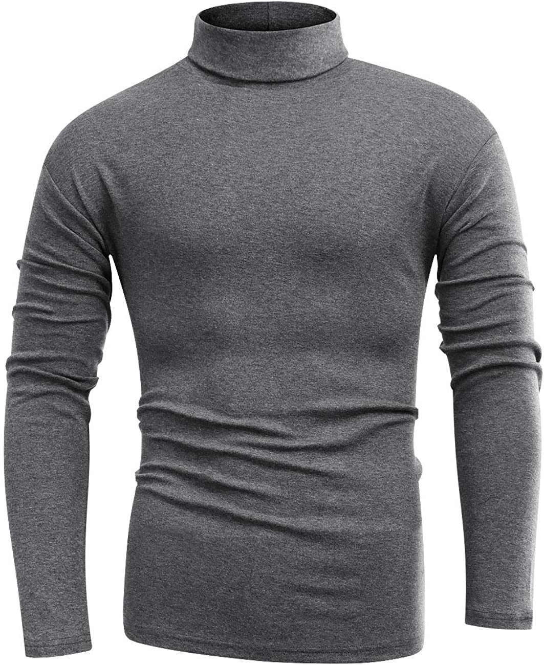 Beauhuty Men's Basic Turtleneck Long Sleeve T-Shirts Fleece Knitted Casual Pullover Top