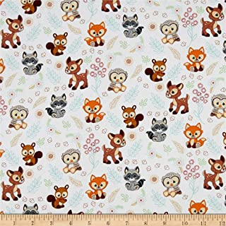 Precious Moments Woodland Baby Girl Digital Print White, Fabric by the Yard