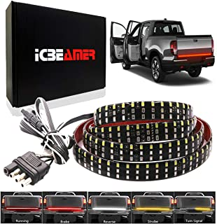 "ICBEAMER 6-Function 60"" Triple Row 504 LED Truck Tailgate Light Strip Bar Waterproof Reverse Turn Signal, Parking, Brake"