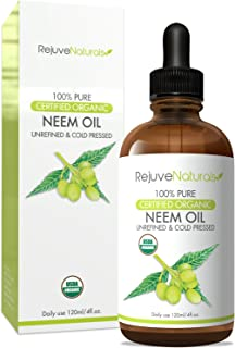 Organic Neem Oil (4oz) USDA Certified Organic Neem Oil, 100% Pure, Cold Pressed. For Hair & Skin - Nail Fungus Treatment, Psoriasis Treatment Oil - for Dogs & Cats