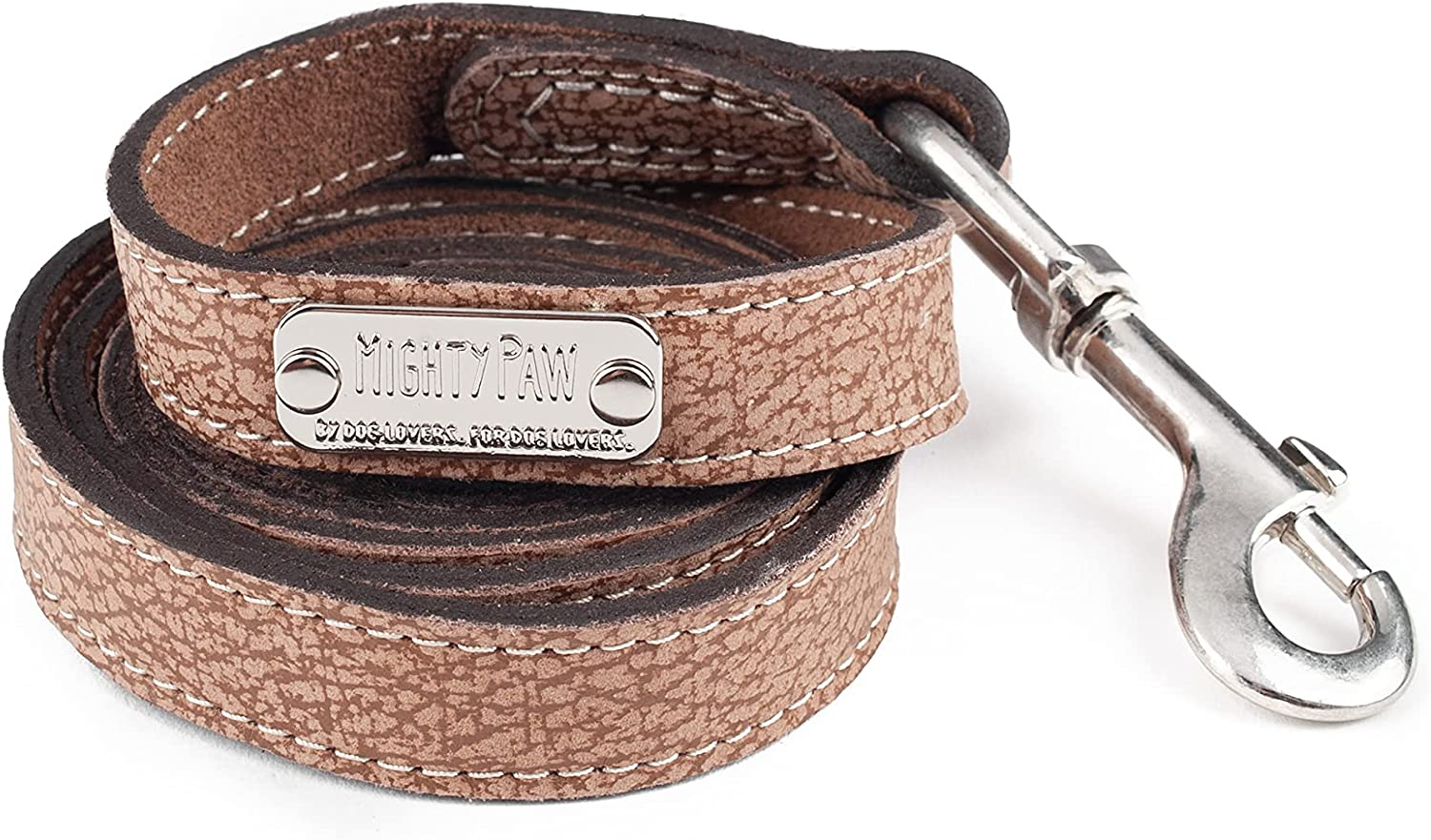 Mighty Paw Leather Dog Leash | 5 ft Leash Super Soft Distressed Real Genuine Leather- Premium Quality, Modern Stylish Lead. Perfect for Small, Medium and Large Pets : Pet Supplies