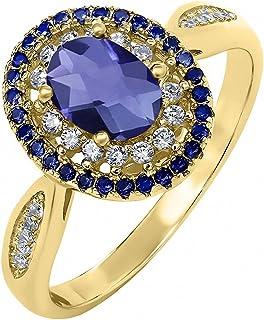 1.25 克拉 椭圆切面 蓝色 堇青石 搭配 白色 锆石 925银镀黄金