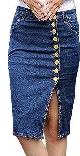 Women's Elastic Split High Waist Package Hip Midi Denim Skirt