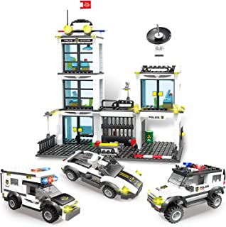 736 Piece City Police Station & Car Building Bricks Kit, City Roleplay Toy Blocks Set with Cop Car & Cruiser, with Storage Box, Popular Construction Building Gift for Kids Boys and Girls Aged 6-12