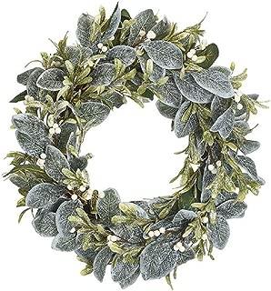 Burtonburton Farmhouse Door Wreaths Garlands Stems Lamb Ear Berry Matching Holiday Decorations (23