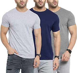 Mens V Neck T-Shirts Jersey Polo Casual Blue Regular Fit Polycotton Tees M-2XL