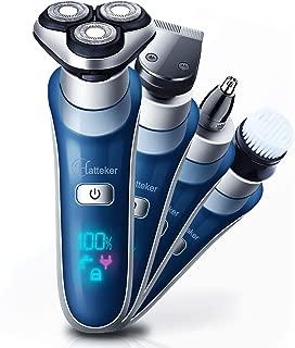 HATTEKER Electric Shaver Razor Men Rotary Shaver For Men Cordless Wet Dry Beard Trimmer Nose Hair Trimmer Face Cleaning Brush Rechargeable 4 In 1