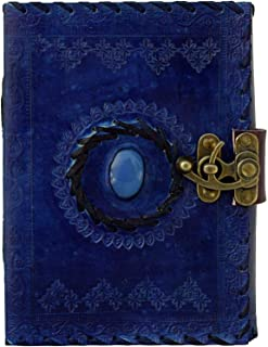 ININDIA Handmade Pure Leather Diary Leather Journal for Men and Women -Office Home Daily Use, Poem Writing with Lock Diary 7 Inches and Luck Stone (Dark Blue)