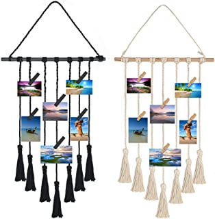 Yesland 2 Pack Hanging Photo Display with 50 Wood Clips, Macrame Wall Hanging Pictures Organizer, Boho Wall Decor for Home...