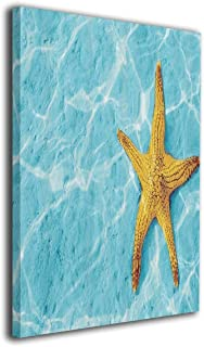 Hd8yehao Starfish in Water with Light Reflection Sunbeams Canvas Wall Art Prints Photo Modern Paintings Decorative Giclee Artwork Wall Decor Wood Frame Gallery Stretched