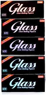5 booklets x GLASS Clear Rolling paper King Size - 100% Natural - 200 papers