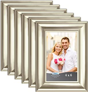 Icona Bay 4x6 Picture Frame (Champagne, 6 Pack), Champagne Photo Frame 4 x 6, Wall Mount or Table Top, Set of 6 Elegante Collection