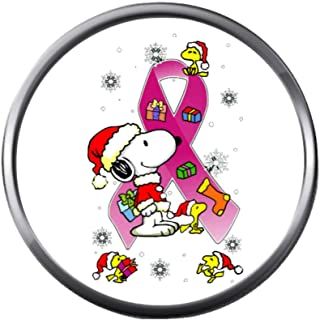 Snoopy Woodstock with Pink Ribbon Breast Cancer Tree Support Awareness Christmas Winter 18MM - 20MM Snap Jewelry Charm