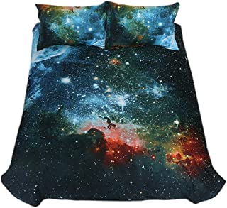 Jocome Coverlets Sets, 3D Starry Bedding Set Universe Outer Space Duvet Cover Set Pillowcases New Night-Bedding Sets Bedspread Bed Skirt Thickened Fitted Sheet