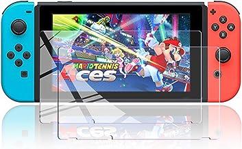 Nintendo Switch用 ガラスフィルム 強化ガラス 保護フィルム 【ブルーライトカット】 日本「旭硝子」素材製 指紋防止・目の疲れ軽減・最强硬度9H・耐スクラッチ・飛散防止・高透過率・気泡ゼロ・貼り付け簡単・2枚入り