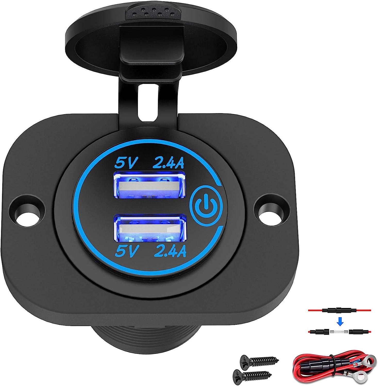 Qidoe 12V-24V USB para automóvil con Interruptor, Cargador de automóvil, Enchufe USB, Adaptador de Encendedor de Cigarrillos a Prueba de Agua con LED Azul para Motocicleta, Barco, camión, ATV