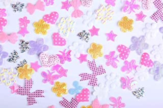 CraftbuddyUS 200 Mixed Fabric Motifs, Sew on Stitch on Stick on PASTEL Flowers, Butterflies Motifs