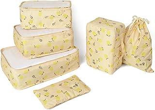 Lemon series 6pcs Detachable Travel Luggage Organizer Packing Cubes Laundry Bag