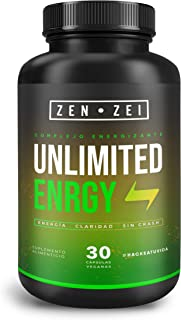 ZEN ZEI   UNLIMITED ENERGY - Complejo Energizante 100% Natural — Formulado para: Energía, Claridad, Sin Crash — Con Cafeína, L-Teanina, Guaraná, Magnesio y Complejo B — Científicamente Formulado