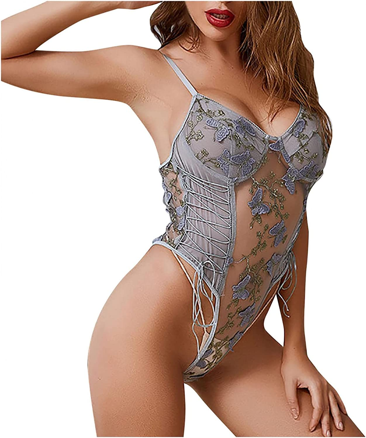 Women Lingerie Sexy Lace One Piece Bodysuit Short Jumpsuit Floral Print See Through Perspective Teddy Babydoll