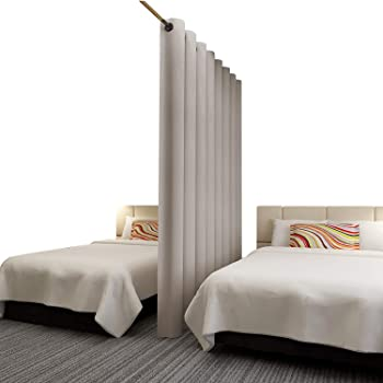 Rose Home Fashion RHF Privacy Room Divider Curtain 8ft Tall x 12.5 ft Wide: No one can See Through, Total Privacy(12.5x8)-Beige
