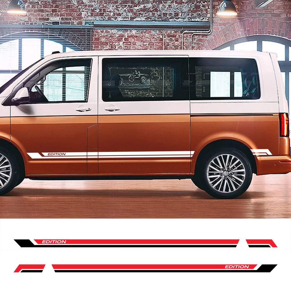 ZYHZJC 2 Piezas Pegatinas de Falda Lateral de Puerta de Coche calcomanías de película de Vinilo automático Accesorios de Tuning para automóviles para Volkswagen Multivan T5 T6: Amazon.es: Coche y moto