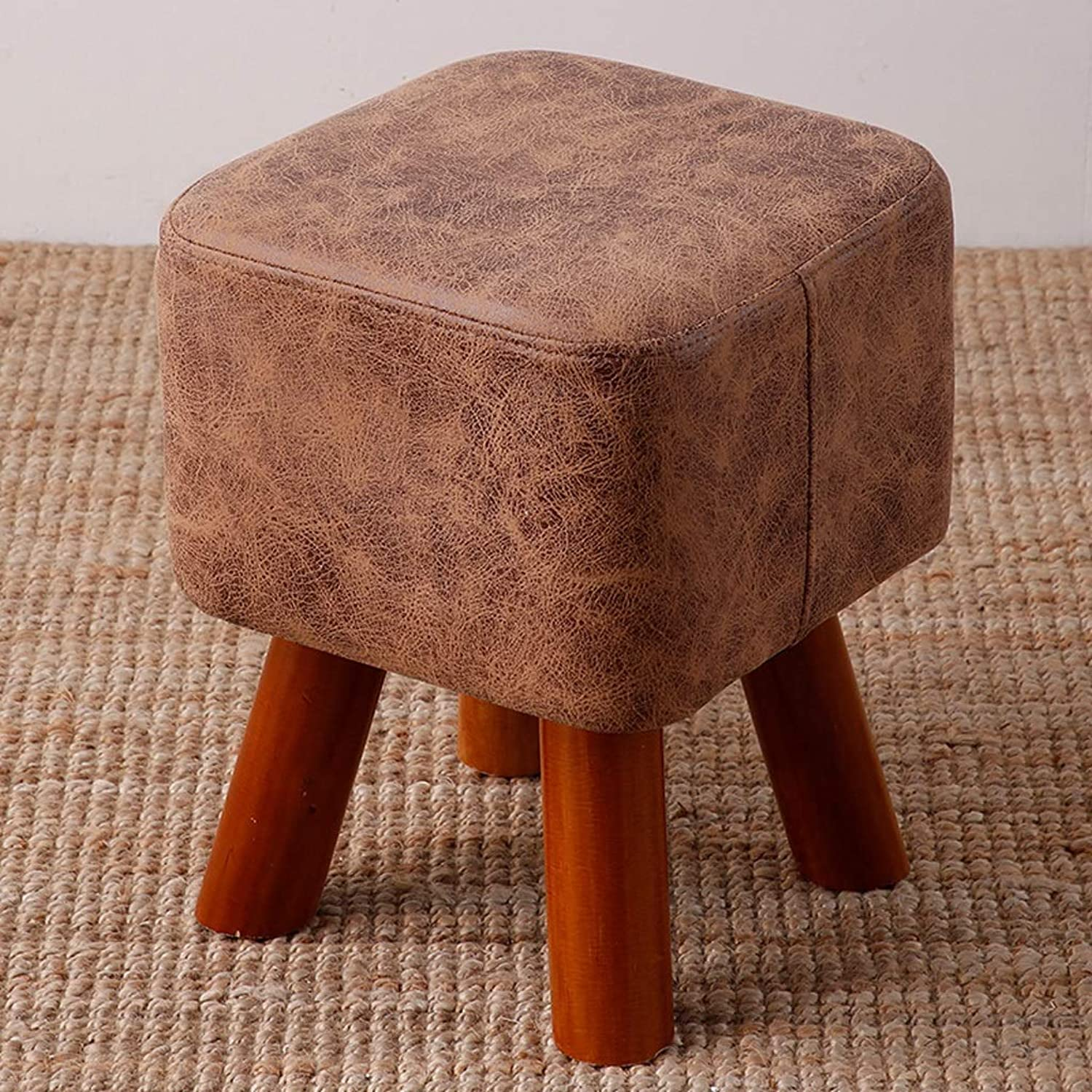 CXQ Modern Creative Stool Home Living Room Fashion Solid Wood Fabric Square Stool Sofa Stool Change shoes Bench Light Brown Bench (Size   L)