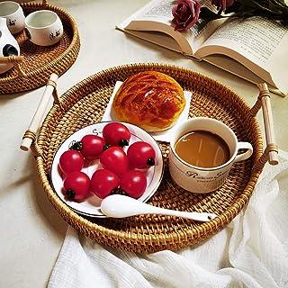 dedepeng Panier de rangement rond en rotin avec poignée, pour pain, fruits, nourriture, dessert, petit déjeuner