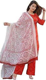 Khushi Sales Fashion Women Bandhej Kurta Palazzo Set with Dupatta Orange
