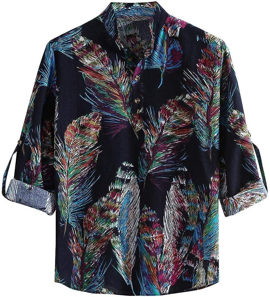 Gergeos Men's Button Down Shirts Vintage Print Casual Shirt Long Sleeve Fashion T-Shirts Loose Retro Dress Shirts